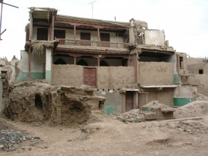 Some early destruction of the old town, in 2004